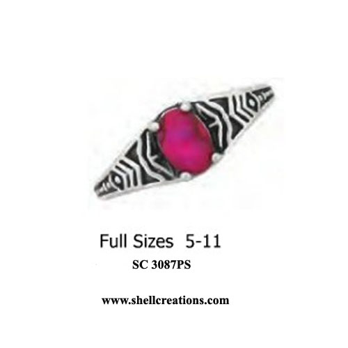 SC 3087PS Pink Passion Paua Shell Stainless Steel Ring