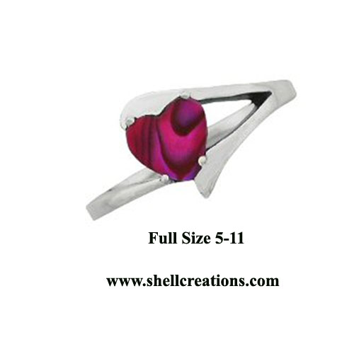 3110 Ladies Stainless Steel Paua Shell Heart Ring