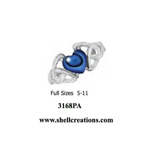 3168PA Ladies Stainless Steel Paua Shell Ring