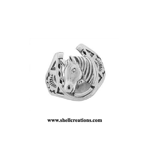 SCR-4258ST Horseshoe and Horse Head Ring