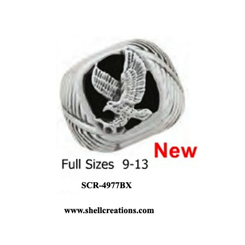 SCR-4977BX Stainless Steel and Black Onyx Eagle Ring