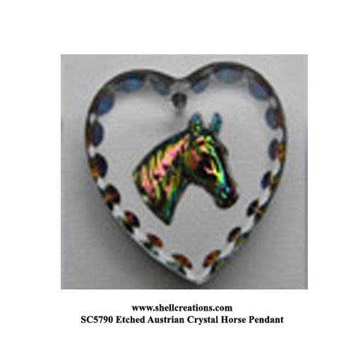 SC5790 Etched Austrian Crystal Horse Pendant