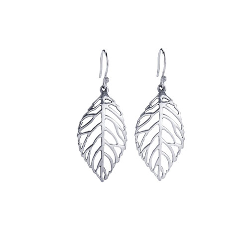 RG626-282Sterling Silver Leaf Earrings
