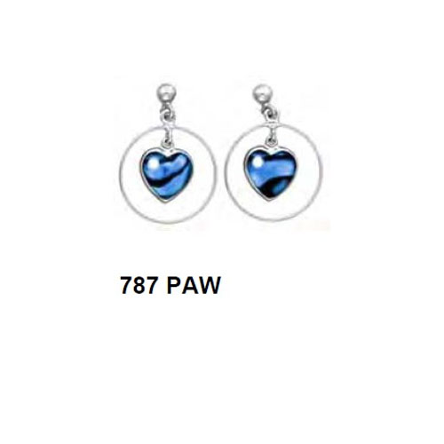 787 PAW Paua Shell Earrings with Hypo-Allergenic Post