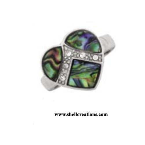 SCR 9103PA Paua Shell Heart with CZ Silver Ring