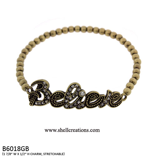 B6018GB Believe Stretch Bracelet with Crystal