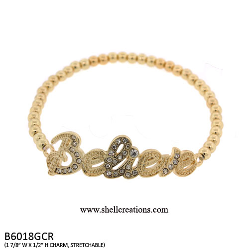 B6018GCR Believe Stretch Bracelet