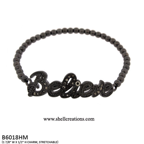 B6018HM Believe Stretch Bracelet with Crystal