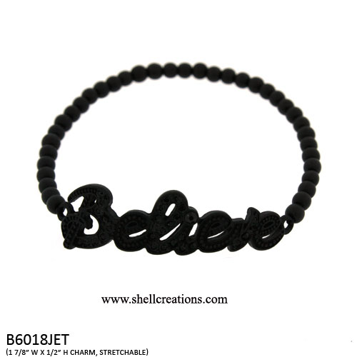 B6018JET Believe Stretch Bracelet with Crystal