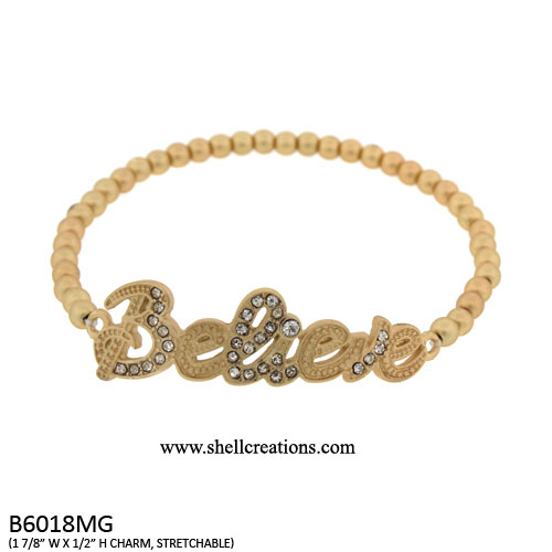 B6018MG Believe Stretch Bracelet with Crystal