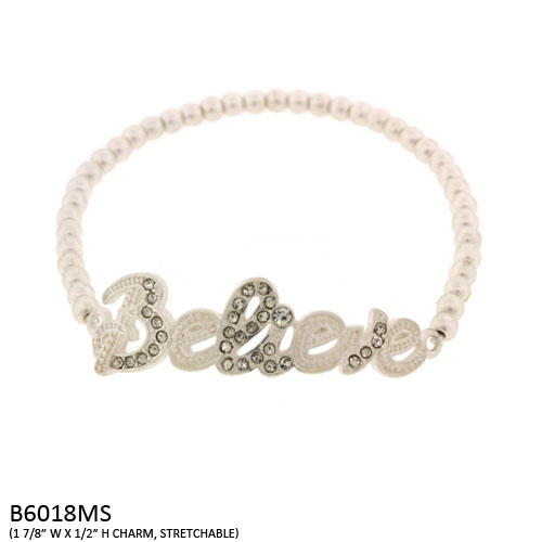 B6018MS Believe Stretch Bracelet with Crystal