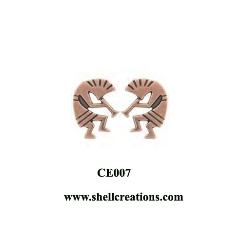 CE007 Solid Copper Kokopelli Post Earrings