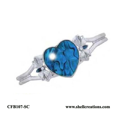 CB107-SC Paua Shell Heart Bangle
