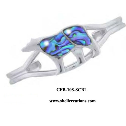 CFB-108-SCBL Paua Shell Bear Bangle