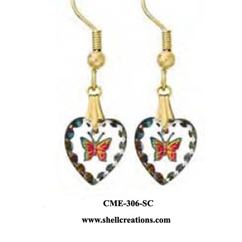 CME-306-SC Swarovski Crystal Butterfly Heart Earrings