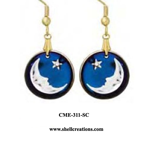 CME-311-SC Austrian Crystal Moon and Star Earrings