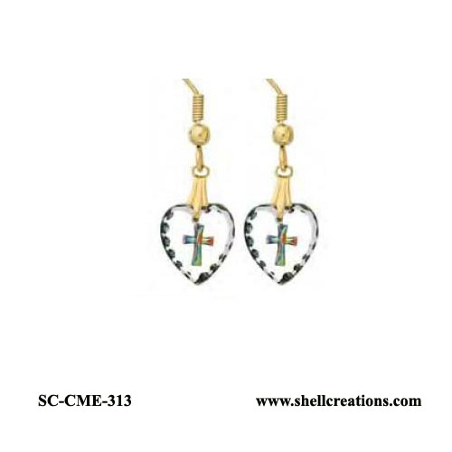 SC-CME-313 Crystal Cross in Heart Earrings