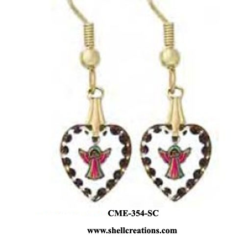 CME-354-SC Angels within Austrian Crystal Heart Earrings