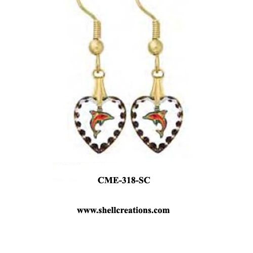 CME-318-SC Dolphin within a Crystal Heart Earrings