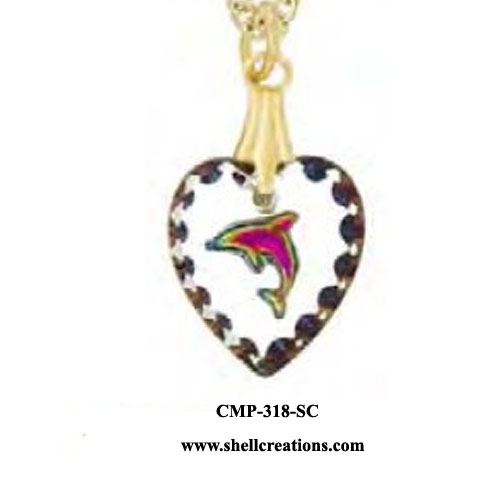 SC5716 Etched Austrian Crystal Dolphin Pendant
