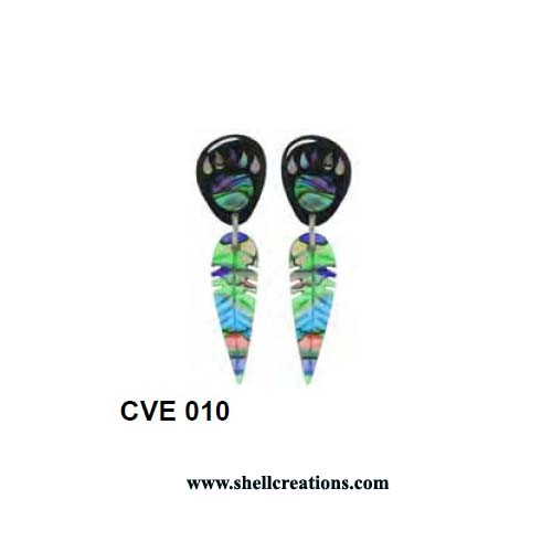 CVE 010 Hand Carved Abalone Bear Paw & Feather Earrings