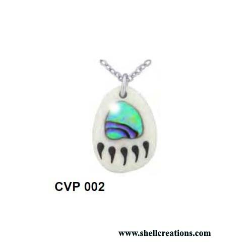 CVP 002 Hand Carved Paua Shell Bear Paw Pendant