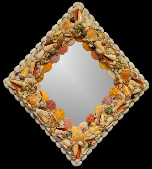 L1-52-SC Hand Crafted Natural Shell Mirror