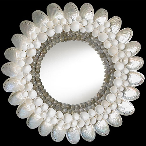 D2-30P Natural White Abalone Shell Mirror
