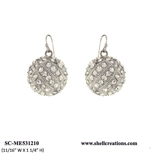 SC-ME531210 Crystal Volleyball Dangle Earrings