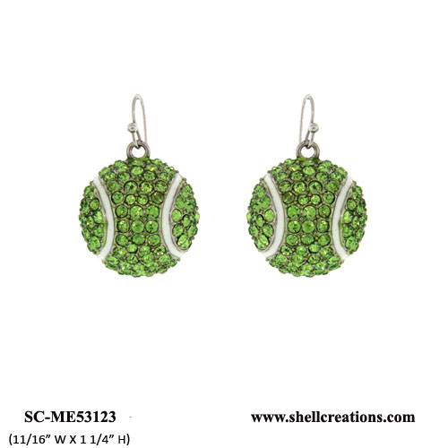 SC-ME53123 Crystal Tennis Ball Earrings