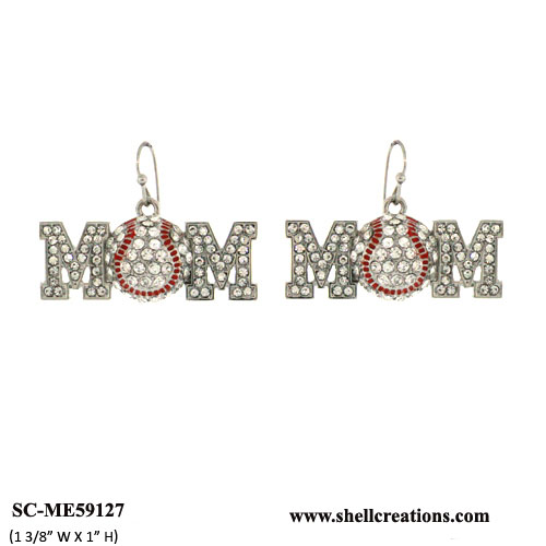 SC-ME59127 Crystal Baseball Mom Earrings