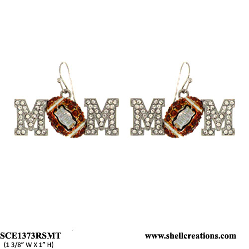 SCE1373RSMT CRYATAL FOOTBALL MOM DANGLE EARRINGS