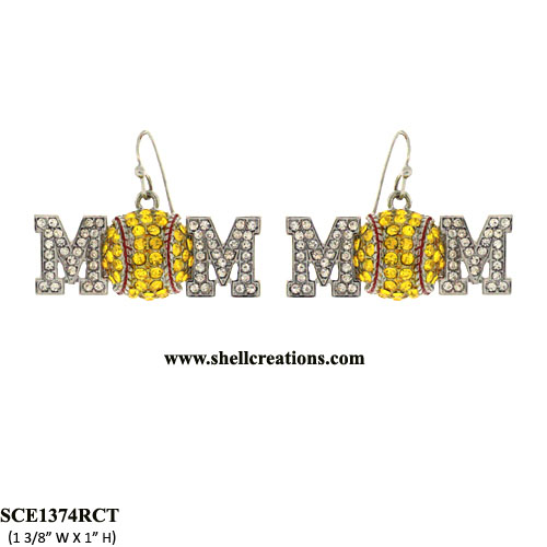 SCE1374RCT Soft Ball Mom Crystal Earrings