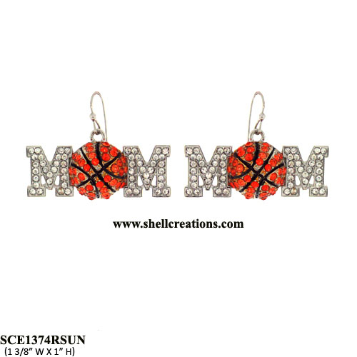SCE1374RSUN Basketball Mom Crystal Earrings
