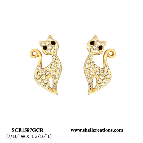SCE1587GCR Crystal Cat Earrings with Hypo-Allergenic Post