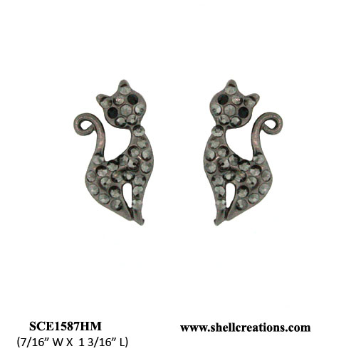 SCE1587HM Crystal Black Tone Cat Earrings
