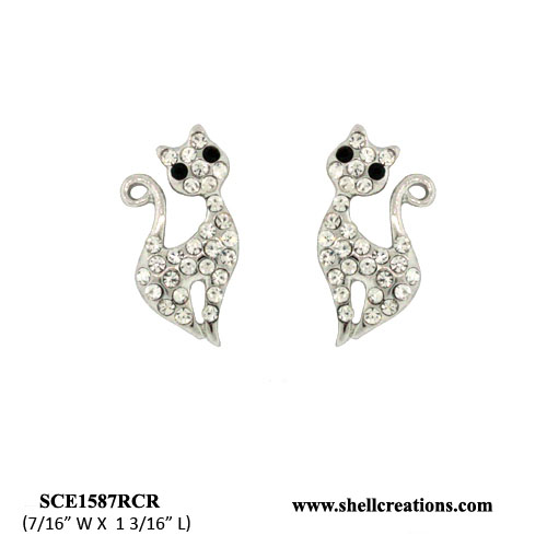 SCE1587RCR Crystal Cat Earrings