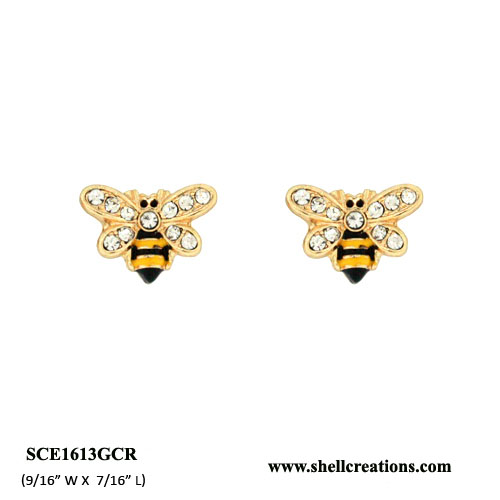 Gold Tone Crystal Bumble Bee Stud Earrings
