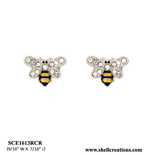 SCE1613RCR Crystal Bumble Bee Stud Earrings