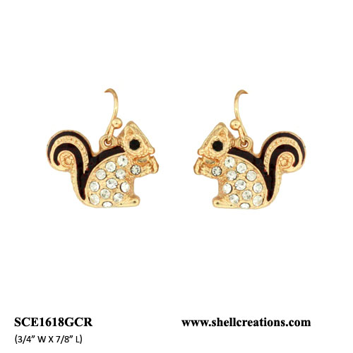 SCE1618GCR Crystal Cute Brown Tail Squirrel Earrings
