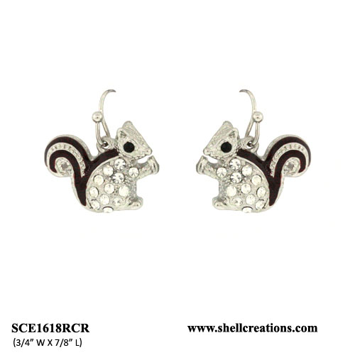 SCE1618RCR Crystal Cute Brown Tail Squirrel Earrings(Silver Tone