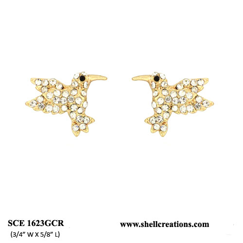 SCE1623GCR Crystal Humming Bird Earrings(Gold Tone)
