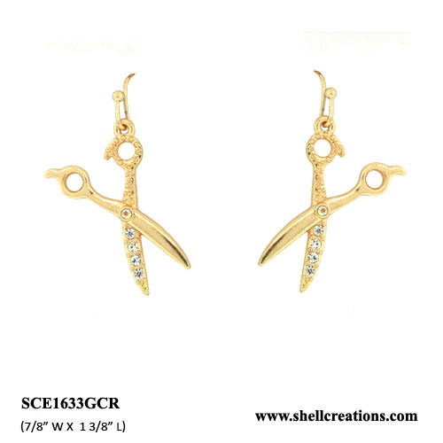 SCE1633GCR Clear Crystal Hairstylist Scissors Earrings(GoldTone)