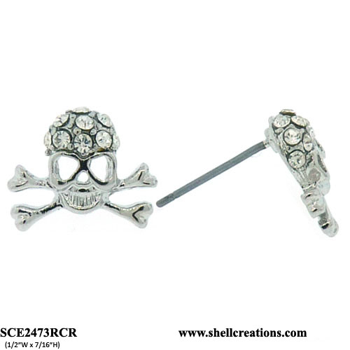 SCE2473RCR Crystal Silver Tone Skull Earrings