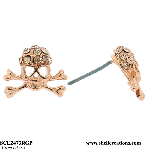 SCE2473RGP Crystal Copper Tone Skull Earrings