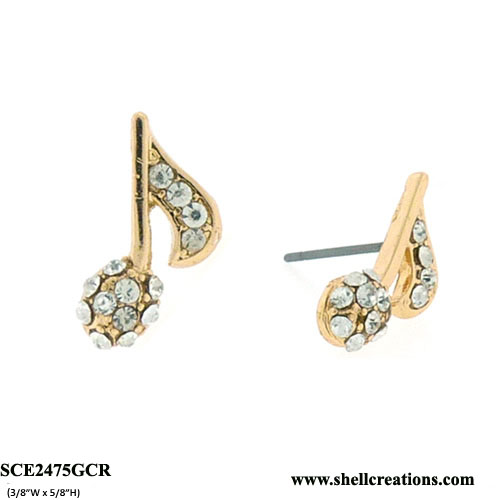 SCE2475GCR Crystal Gold Tone Music Note Stud Earrings