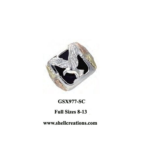 GSX977-SC Men's Dakota Gold & Silver Black Onyx Eagle Ring
