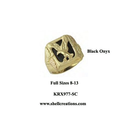 KRX977-SC Men's Dakota Gold Black Onyx Eagle Ring