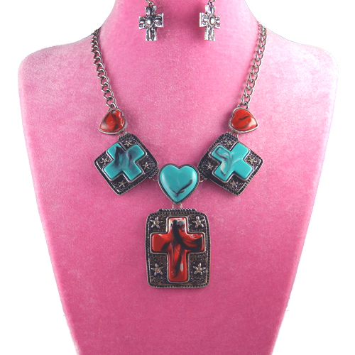 SCM1027137RD Cross Charm Necklace and Earring Set
