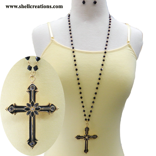 SCM1105136BK 32 Inch Length Cross Necklace